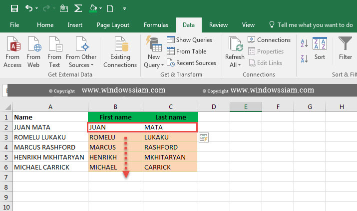 Flash Fill Excel 2016-3