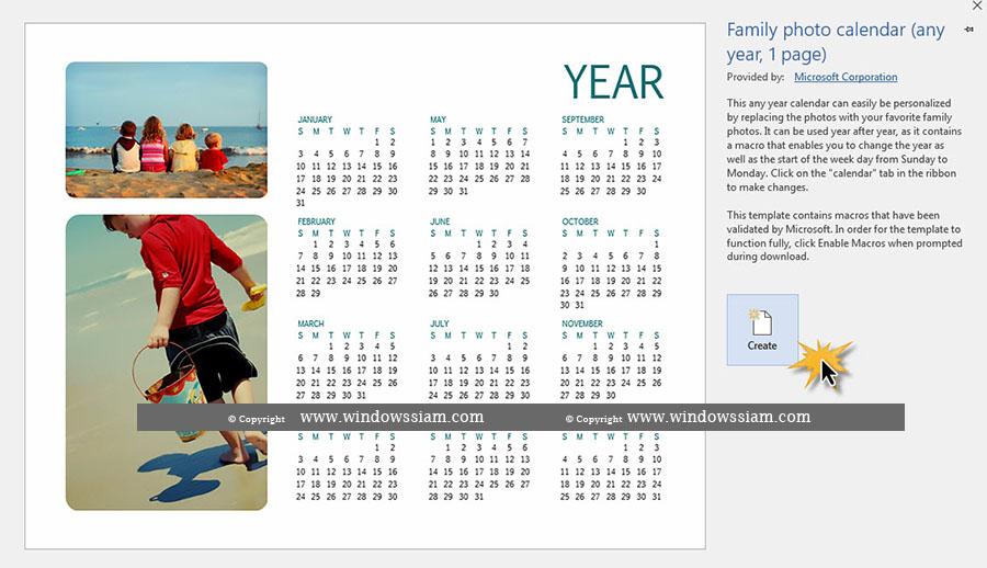 Create Calendar Word 2016-2