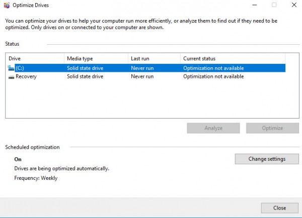 Defragment Disk Windows 10-3
