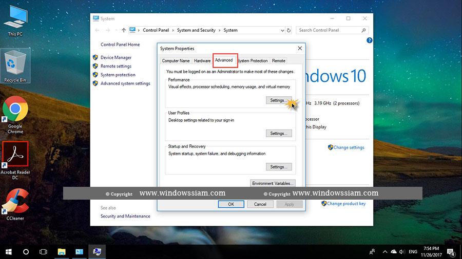 Settings Performance Windows 10