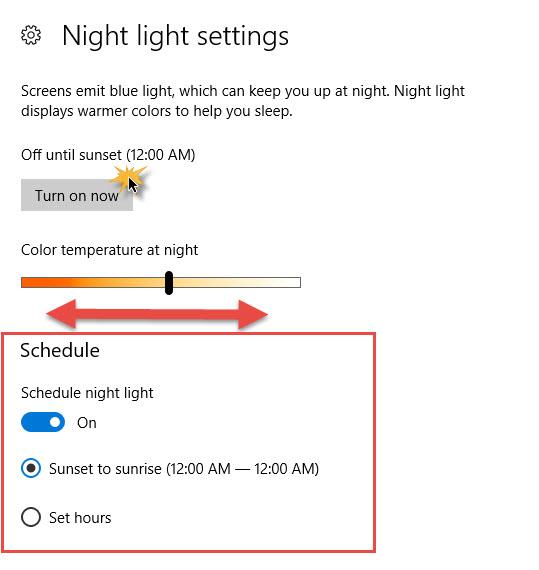 Night Light Windows 10-8