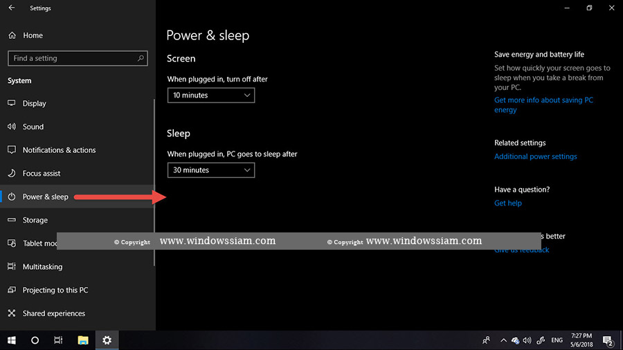 Power - Sleep Windows 10