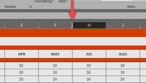 ซ่อนคอลั่ม ซ่อนแถว Excel 2016-5