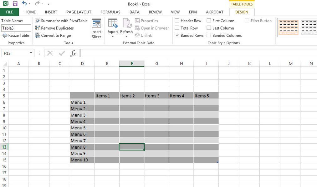 ใส่สีตารางสลับกัน Excel 2013-5