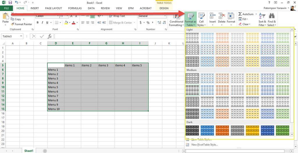 ใส่สีตารางสลับกัน Excel 2013-6