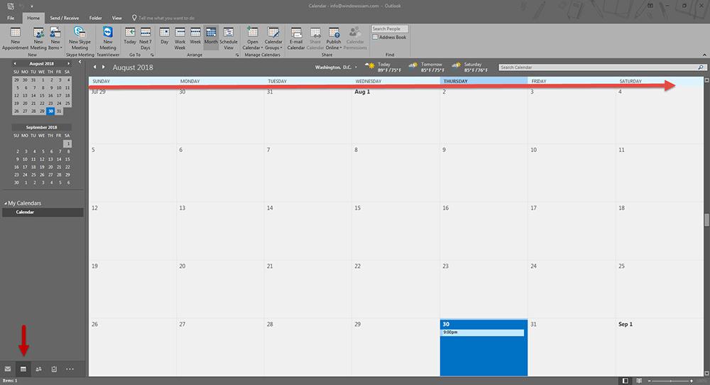 ตั้งวัน Calendar Outlook 2016-1