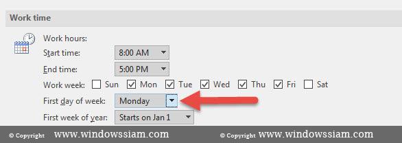 ตั้งวัน Calendar Outlook 2016-5