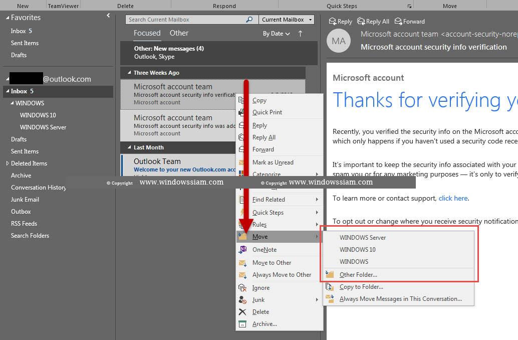สร้าง Folders ใน Microsoft Outlook-3