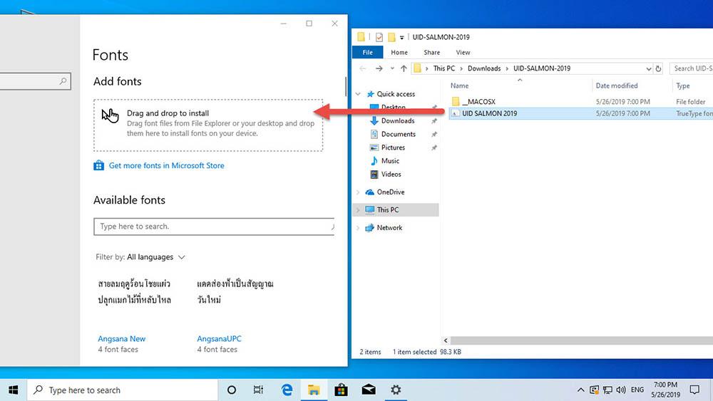 ติดตั้ง Font Windows 10-3