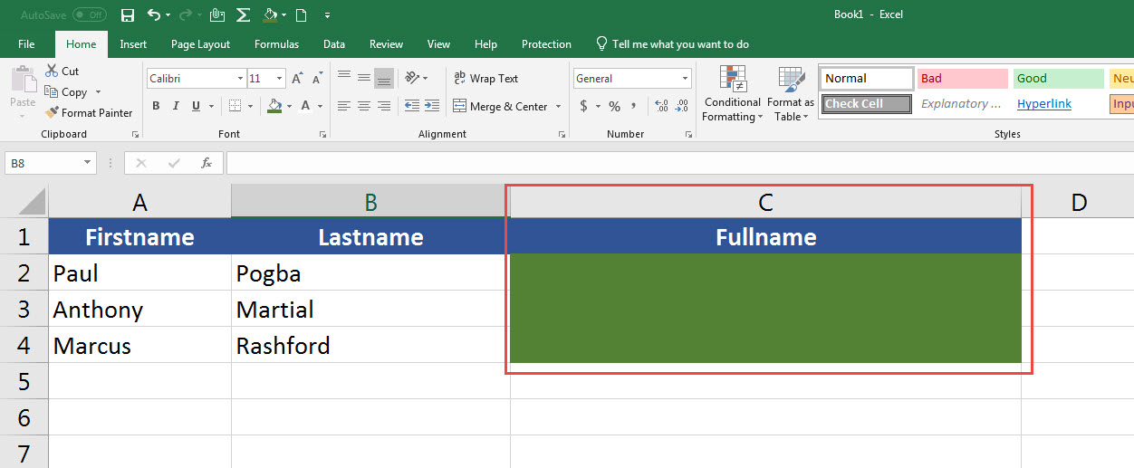 ข้อความต่อกัน ผสานเซลล์ Excel-4