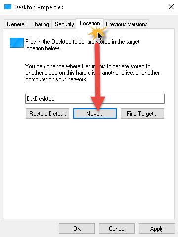 ย้ายที่เก็บไฟล์ Desktop Windows 10-3