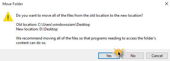 ย้ายที่เก็บไฟล์ Desktop Windows 10-4