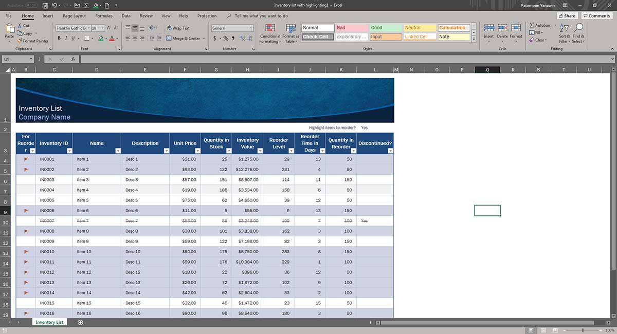 Print Area Excel การเพิ่มหัวตาราง-1