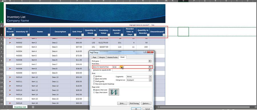 Print Area Excel การเพิ่มหัวตาราง-4