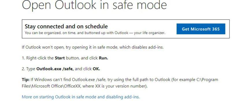 วิธีการเข้า Outlook Safemode ทุกเวอร์ชั่น